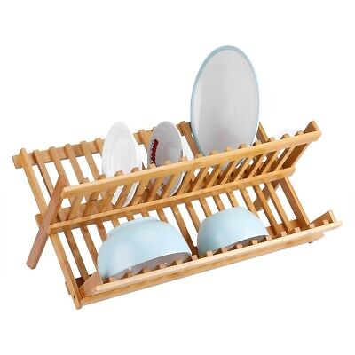 £10.19 • Buy Wooden Dish Plate Rack Holder Storage Drying Drainer Vertica Plate Cup Stand New