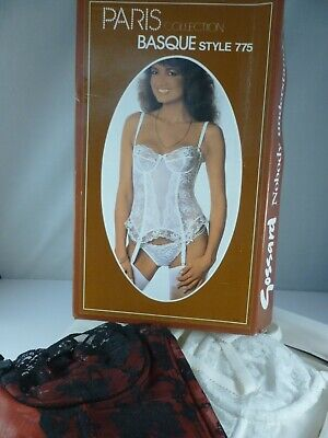 £35 • Buy 2 X VINTAGE 1980's GOSSARD Corset / Basques Size 34A In White AND Red & Black