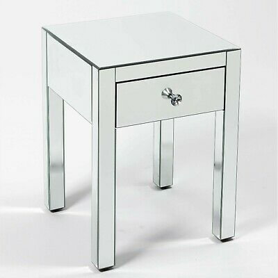 £49 • Buy *** CLEARANCE *** SILVER MIRRORED GLASS BEDSIDE LAMP TABLE 1 DRAWER (no.2)