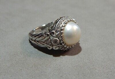 $18.50 • Buy Judith Ripka 925 Sterling Silver Mabe Pearl CZ Accent Designer Ring Size 7.25 Nr