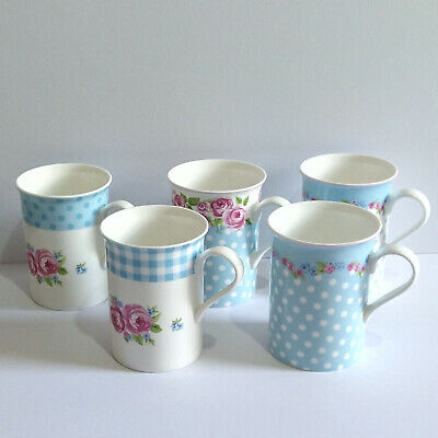 £28.99 • Buy Stechcol Exclusively For Heath McCabe Fine Bone Chine Floral And Spotty Mugs X 5