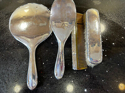 £110 • Buy Antique 1919 Silver Dressing Table Set Mirror Brush Comb Clothes Brush