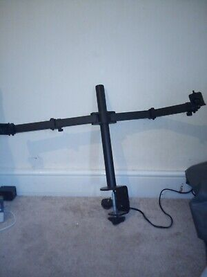 """£15 • Buy Double Twin Arm Desk Mount Bracket LCD Computer Monitor Stand 13""""-27"""" Screen TV"""