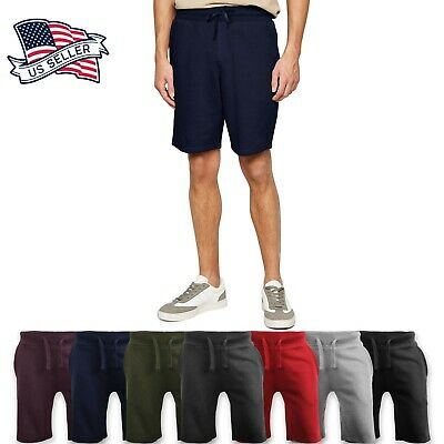 $13.99 • Buy Mens Fleece Sweat Shorts Casual Cotton Jogger Classic Fit Gym Athletic Pants