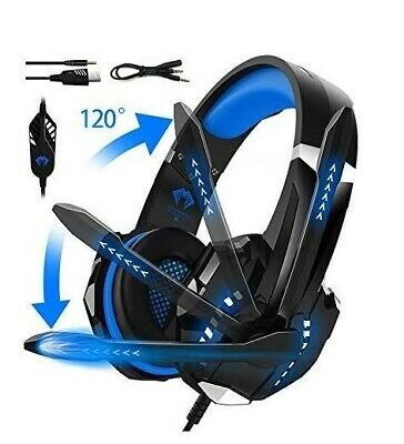 AU44.89 • Buy USB Wired LED Headphones Stereo Gaming Headset With Mic For PC Desktop & Laptop