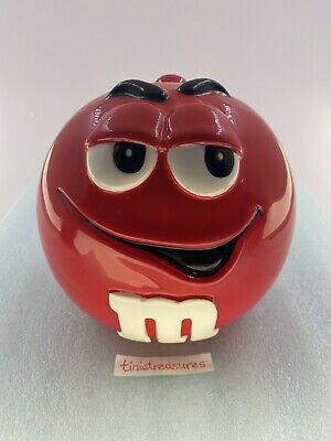 $10 • Buy M & M COLLECTIBLE RED COOKIE/CANDY JAR WITH LID Tinietreasures