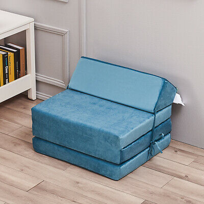£25.99 • Buy Velvet Fold Out Chair Z Bed Futon Couch Single Mattress Sleepovers Guests