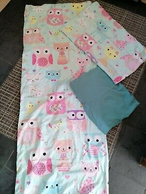 £2 • Buy Girls Owl And Cat Single Duvet Set With Fitted Sheet
