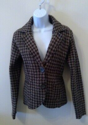 £2.50 • Buy 100% Soft Wool Dog Tooth Brown Jacket - Size 10