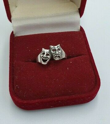 £28 • Buy Comedy Tragedy Mask Solid Silver Ring Size K