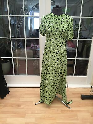 £29.99 • Buy New! Topshop Uk 10 Sold Out Silky Lime Green Toile Austin Midi Tea Dress 10 38