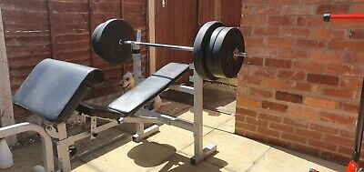 £215 • Buy York Premium Weights Bench/Squat Rack PLUS 89.5kg Weight Plates + Bar + Cover!!