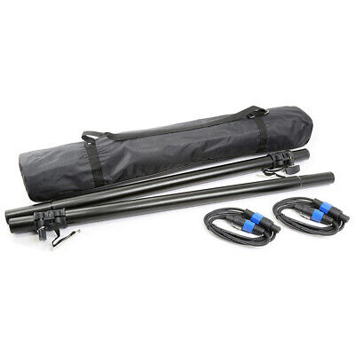 £49 • Buy Vonyx 180.548 DJ PA Speaker Poles Mounting Tube Set With Travel Bag & NL4 Cables