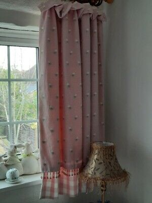 £26.99 • Buy PAIR CURTAINS INTERLINED PINK GINGHAM CHECK FLOWERS Bedroom Girls 45 X 50  Used