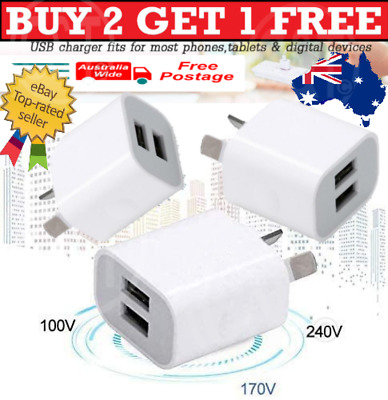 AU7.99 • Buy 5V 2A Dual USB Wall Charger Home Phone Charger  Adapter Universal IPhone AU PLUG