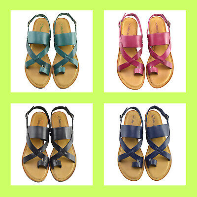 £10.95 • Buy Womens Leather Sandals Ladies Summer Slippers Beach Buckle Gladiators Flat Sizes