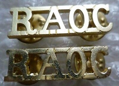 £2.99 • Buy Royal Army Ordnance Corps Shoulder Title Anodised - Staybrite Raoc Title  Pair
