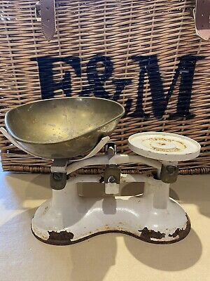 £15 • Buy Vintage Weighing Scales, Cast Iron With Brass Pan, Victor England