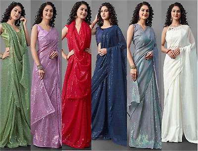 £25.99 • Buy Heavy Georgette Bollywood Sequence Designer Silk Saree Indian Party Sequin Sari