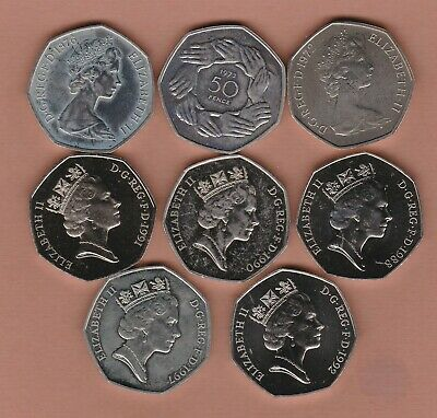 £32.50 • Buy Eight Proof 50 Pence Coins 1972 To 1997 In Near Mint Condition.