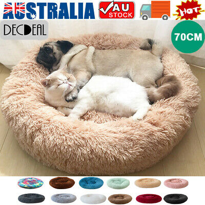 AU16.14 • Buy Dog Cat Pet Calming Bed Warm Soft Plush Round Nest Comfy Sleeping Kennel Cave