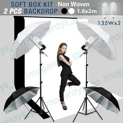 AU68.98 • Buy Photography Umbrella Lighting Reflector Continuous Light Stand Kit + 2 Backdrops