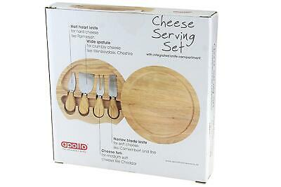£14.75 • Buy Round Wooden Cheese Serving Set With Integrated Knife Compartment
