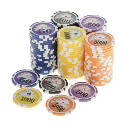 £23.14 • Buy 100 Pieces Texas Hold'em Casino Poker Chips 13.5g 100 500 1000 5000 10000