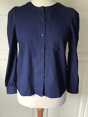 £10 • Buy Whistles Navy Chambray 100% Cotton Puff Sleeve Shirt Size 12 New With Tags