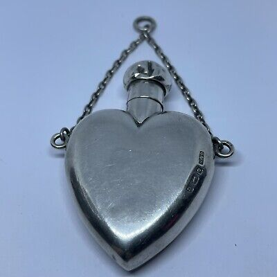 £95 • Buy Antique Sterling Silver Chatelaine Scent Bottle Heart Shaped 1904 Gibson & Co