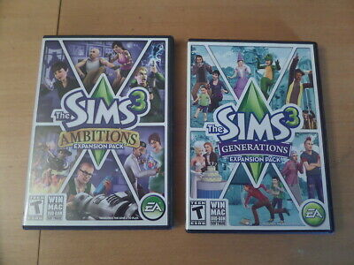 £11.32 • Buy Sims 3 Expansion Packs Generations & Ambitions Boxes & Manuals   PCMACDVD