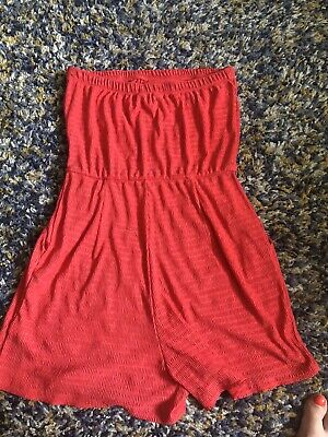 £2.99 • Buy Next Red Bandeau Strapless Playsuit With Pockets Size 12