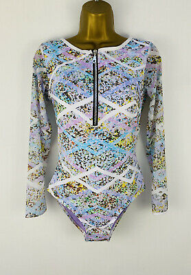 £25 • Buy New NEXT Size 12 Long Sleeve Mesh Swimming Costume Floral Print Purple Swimsuit