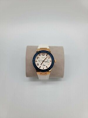 $ CDN59.67 • Buy GUESS Women's Rose Gold Tone Case White Silicone Band Navy Bezel Watch