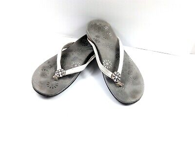 £7.08 • Buy Vionic Women's Sandals Orthaheel Sharon Grey/White Flip Flop Thong Shoes Size 11