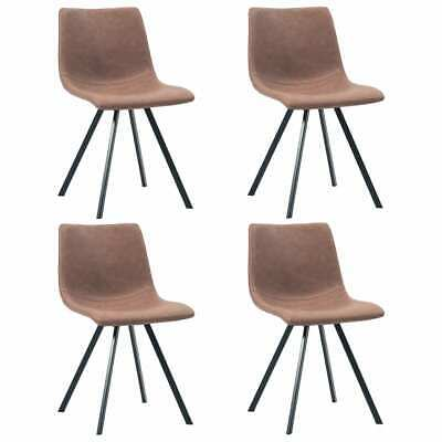AU290.16 • Buy Dining Chairs 4 Pcs Medium Brown Faux Leather
