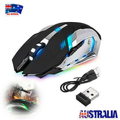 AU12.88 • Buy LED Wireless Gaming Mouse Ergonomic Optical For PC Laptop Rechargeable No Noise