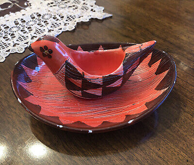 £7.07 • Buy VINTAGE - MADE IN Italy -Chicken Bird Egg Cup & Saucer Red & Brown One Piece