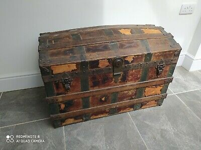 £49.99 • Buy Large Retro / Vintage, Aged / Old Wooden Storage Trunk / Treasure Chest
