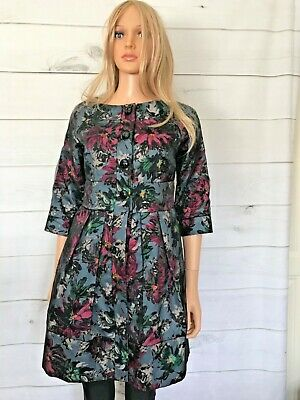 £59.99 • Buy Darling Dress Coat Size Small Grey Floral Print 3/4 Sleeves Pleated V Good Con
