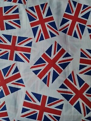 £7.99 • Buy White Union Jack Flag Print Fabric, VE Day Bunting Flag 60  Wide Sold By Meter