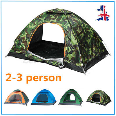 £19.99 • Buy 2-3 Man Large Family Tents Auto UP Festival Camping Travel Beach Waterproof UK