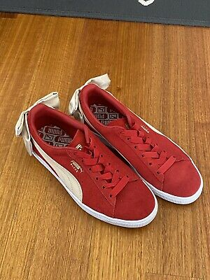 AU35 • Buy AS NEW Puma Red Suede Bow Sneakers US 8 38.5