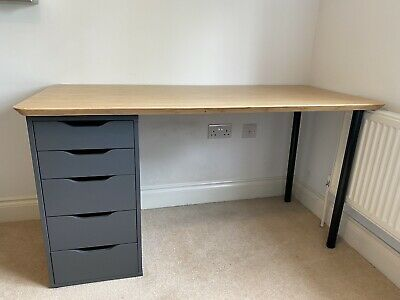 £10.50 • Buy Ikea Desk With 5 Drawers, Bamboo Top