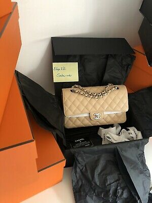 £4750 • Buy 💯 Authentic Chanel Classic Flap Bag Beige Caviar With SHW