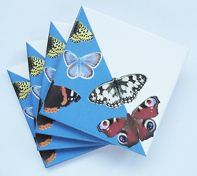 £12 • Buy Set Of 4 Light Blue British Butterfly Ceramic Tile Coasters With Cork Backing