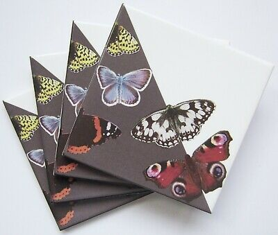 £12 • Buy Set Of 4 Grey British Butterfly Ceramic Tile Coasters With Cork Backing
