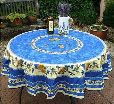 £21.10 • Buy Tablecloth Provence 180 CM Round Blue From France Easy-Care And Non-Iron
