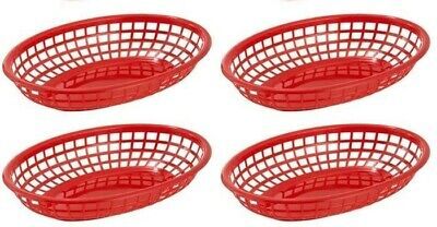 £5.49 • Buy 4 X Red Plastic Food Baskets Great For Burgers Hot Dogs Fries & More
