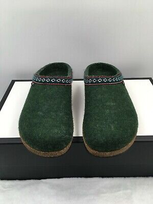 £32.53 • Buy Haflinger Grizzly Franzl Slippers Clogs Forest Green Wool Slip On Womens Size 35